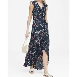 Floral ruffle wrap asymmetrical hem maxi dress